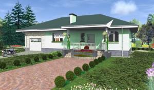Одноэтажный дачный дом с террасой, построенный из профилированного бруса легко протопить, но каркасный дом не дает усадки