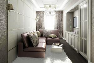 Избегайте массивных элементов в декоре, дизайн узкой комнаты должен быть легким, почти воздушным