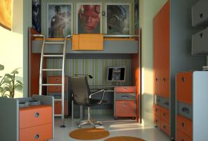 более строгими оттенками ярких цветов можно сделать дизайн комнаты для подростка более контрастным