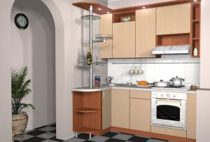 Дизайн малогабаритной кухни станет завершенным при использовании большого количества дополнительных лампочек и светильников