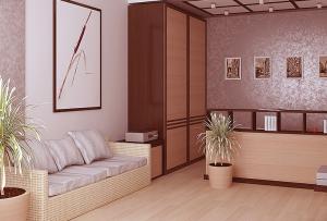 Уже полюбившийся многим дизайн однокомнатной хрущевки, предполагает снос стены между комнатой и кухней