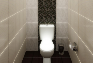 Дизайн туалета будет неизбежно требовать наличия полочек и фурнитуры