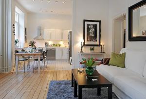 Зонирование помещения будет решающим, что бы создать грамотный и практичный дизайн в однокомнатной квартире