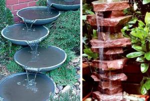 Фонтанчик на даче, сделанный своими руками, можно украсить с помощью декоративных элементов