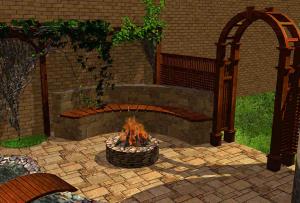С помощью камня или декоративной штукатурки, можно выполнить на заборе целый элемент