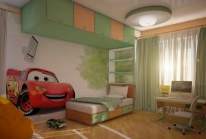 комната для мальчика может быть оживлена целой сценой из мультфильма